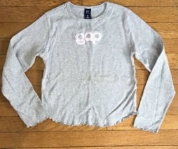 * Gap Kids gray logo long sleeve tee shirt top XL extra large 12 girls - $4.95
