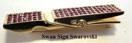 Authentic Swan Signed Swarovski Red Rhinestone Clothes Pin Brooch Unusua... - $34.60