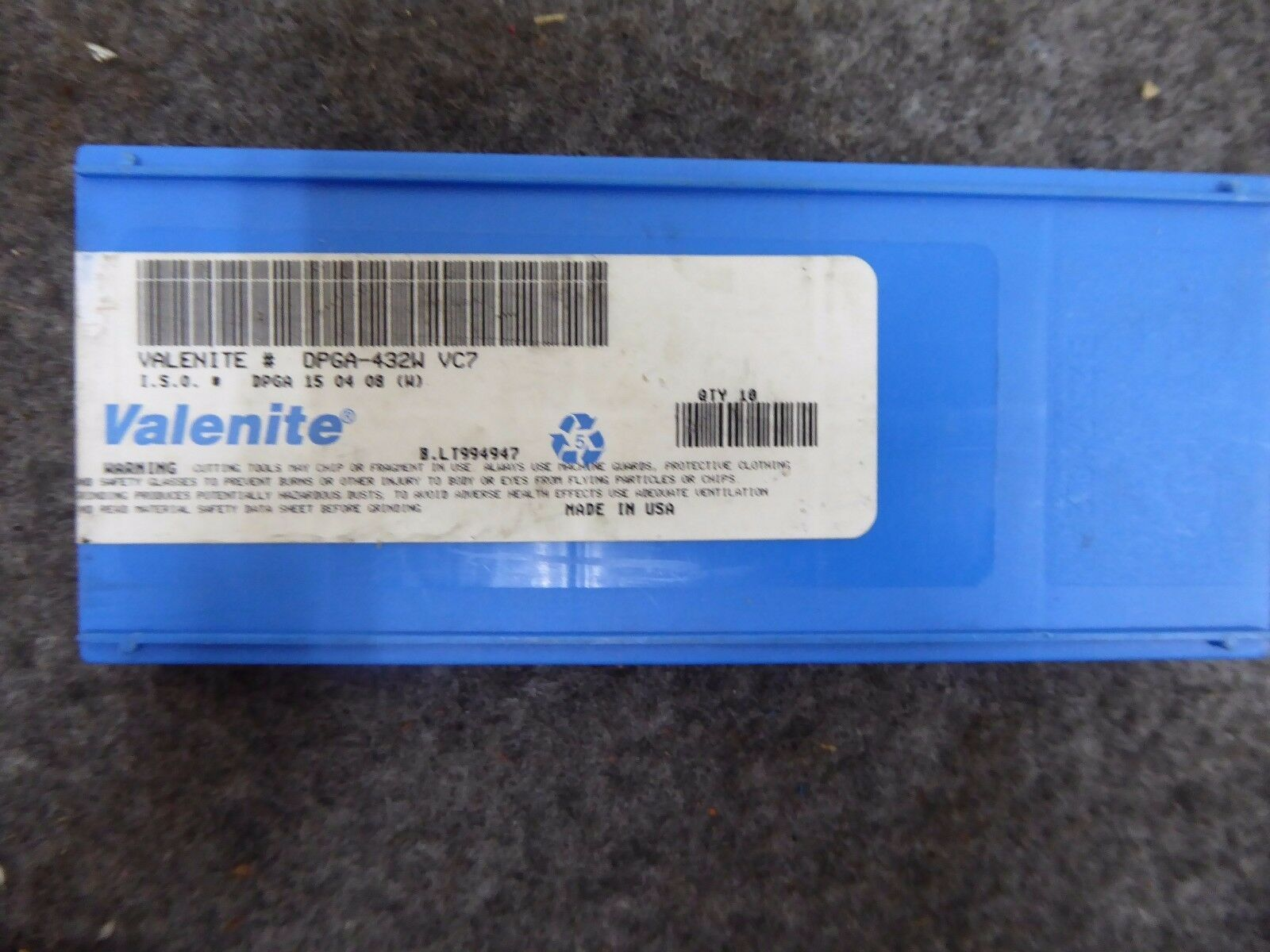 Valenite DPGA-432W Carbide Inserts Pack of 10 VC7
