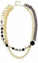 Daniela Swaebe 18K Gold Black Rhodium-Plated Ball Chain Ombre Statement Necklace image 1