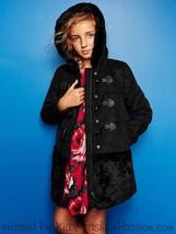 NWT $128 GAP Kids Girls Shearling Duffle Faux Suede Fur Coat Jacket Blac... - $49.48