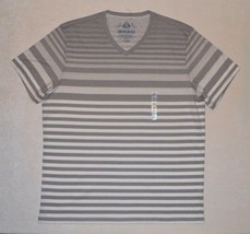 American Rag Men's T-shirt Short Sleeve Gray White Tee Size XL Striped V... - $8.99