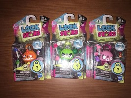 Hasbro Lock Stars Set Of 3 Pink Bunny Orange Dinosaur Green Cactus - NEW - $19.79