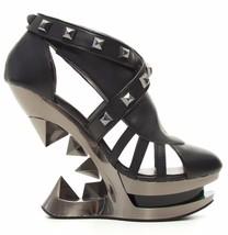 Sexy Hades KRACE Black Strappy Shoes Platform Gun Metal Iceberg Wedge Heels - $149.00