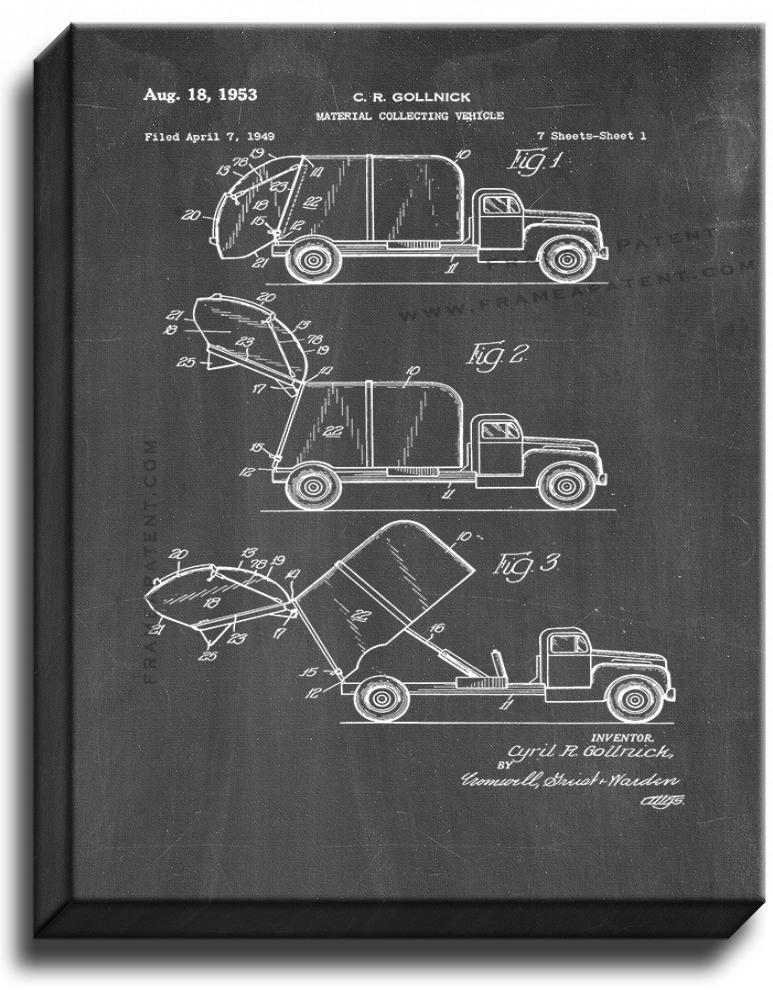 Primary image for Garbage Truck Patent Print Chalkboard on Canvas