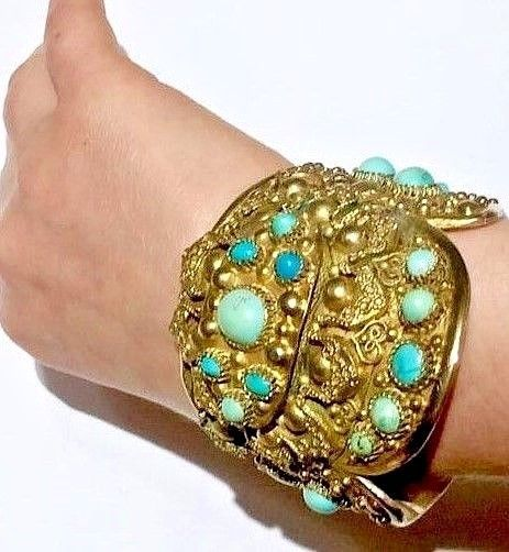 BIG Antique Persian Bracelet with Persian turquoise sterling yellow gold