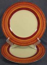 Pier 1 Lugano Dinner Plates Lot of 2 Stoneware Orange Band Geometric Design - $29.95
