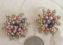 Retro Pinup Vintage Multicolor Pastel Metallic STARBURST Beaded Clip On ... - $9.99