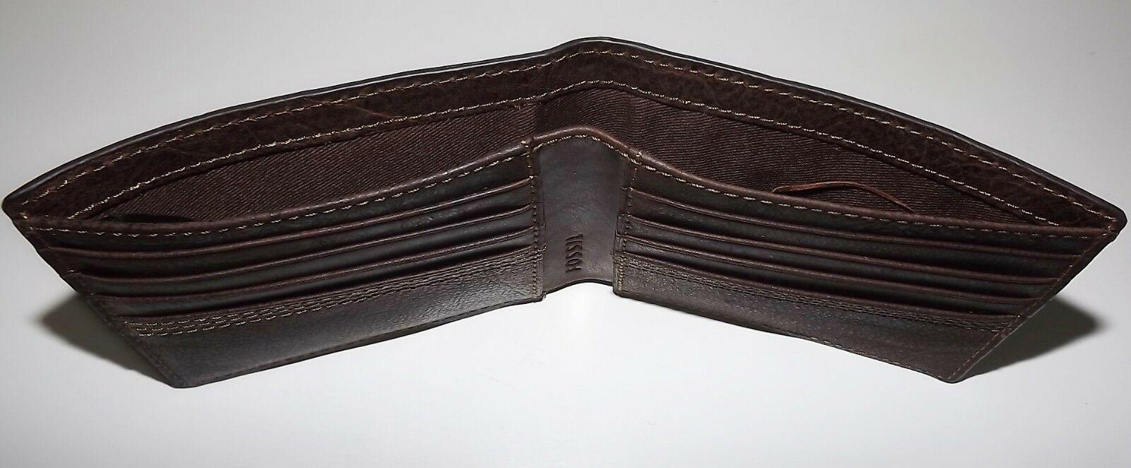Fossil HERREN Leder Kyle Rfid Geschützt Bi-Faltbar Portemonnaie mit Valet image 5