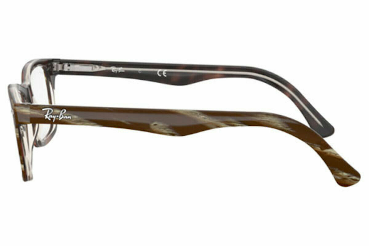 Unisex Ray-Ban RX5228 5914 Square Eyeglass Frames - Striped Brown