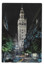 Spain Sevilla Cathedral Giralda Bell Tower Night View Seville Postcard 4X6 - $5.70