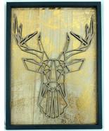"Gold & Black Geometric Stag Deer Head Wood Framed Artistic Decor 15 3/4""... - $47.45"