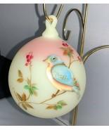 Fenton Art Glass Hand Painted Bird on Pink Burmese - €90,77 EUR