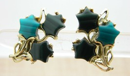 Gold Tone Green Thermoset Flower Clip Earrings Vintage - $29.70