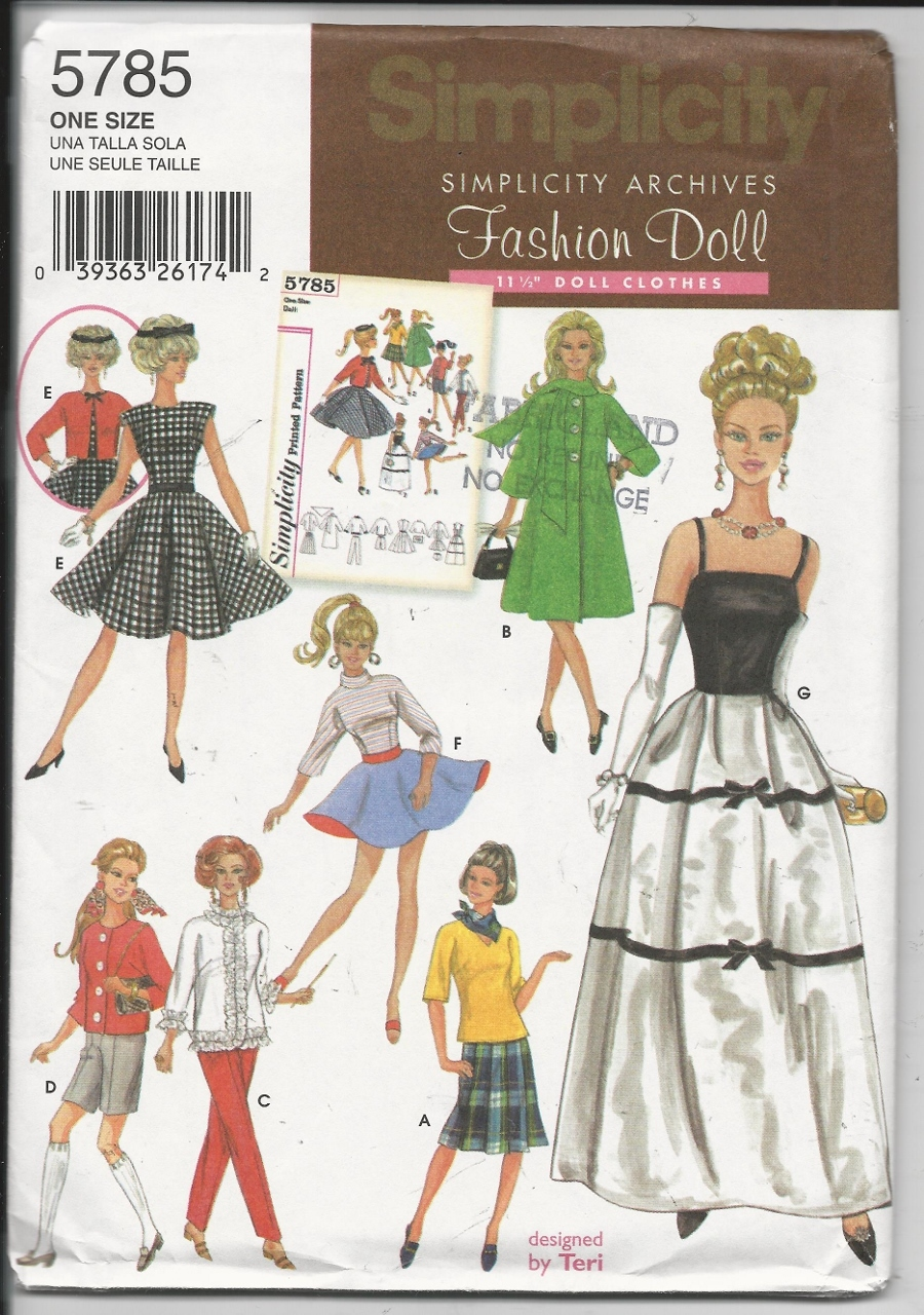 """JACKET WRAP 6 STYLES DRESSES SIMPLICITY SEWING PATTERN 1220 18/"""" DOLL CLOTHES"""