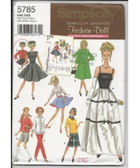 Retro Barbie Clothes, Simplicity Pattern 5785, Dresses, Blouses, Jacket,... - $4.93