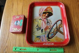 Coca Cola Vintage Drink tray Advertising Tin woman driving car & Playing... - $98.01