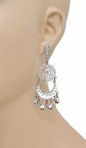 """3"""" Long, Classic Chandelier Earrings By Ali & Jules, Silver Tone, Rhinestone  - $14.25"""