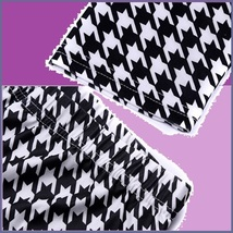 Houndstooth Black n White Plus Size Stretch Faux Latex Mid Waist Leggings  image 4
