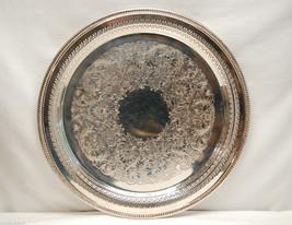 Wm. Rogers Silverplate Etched Flower Platter & Pierced Sides w Cloth Storage Bag - $39.59