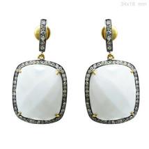 Onyx Gemstone Dangle Earrings 14k Gold Pave Diamond Sterling Silver Vint... - $1,154.14