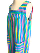 60s/70s French Vintage Candy Pastel Stripe Cotton Sun Dress, Blue, Green, Pink,  image 5