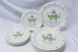 Enchanted Forest Xmas Snowman Snowflake Dinner and Salad Plates Lot of 8 - $48.99