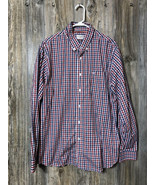 Dockers Size XL Red/White/Blue Check Mens Long Sleeve Button Front Shirt - $13.85