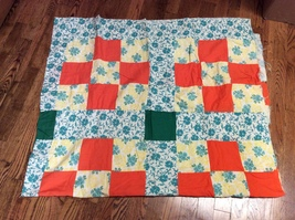Vintage Hand Stitched Unfinished Colorful Block Floral Print Quilt Top - $60.00