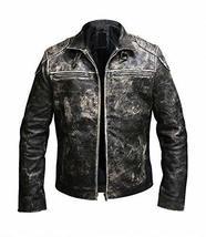 Mens Vintage Motorcycle Retro Distressed Black Antique Biker Leather Jacket image 1