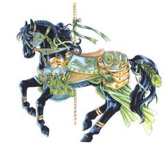 Peacock Carousel Horse Cross Stitch Pattern LOOK - $4.95