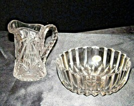 Etched glass candy dish and miniature pitcher AA19-LD11941 Vintage 2 pieces