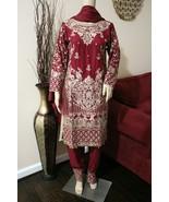 Pakistani Meroon Straight Shirt 3-PC Viscose Suit w/  Thread work,X-Large - $84.15