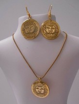 Signed Laurel Burch Set~All Gold Plated Marsh Lions~Pierced Earrings + Necklace - $30.00