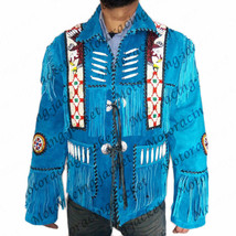 Sky Native Western Cultural Fringe Jacket Coat, Eagle Bead Bone Jacket A... - $197.97