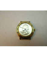 1966 quarter coin dial ROMAN NUMBER BEZEL WINDUP WATCH RUNS TO RESTORE CASE - $115.00