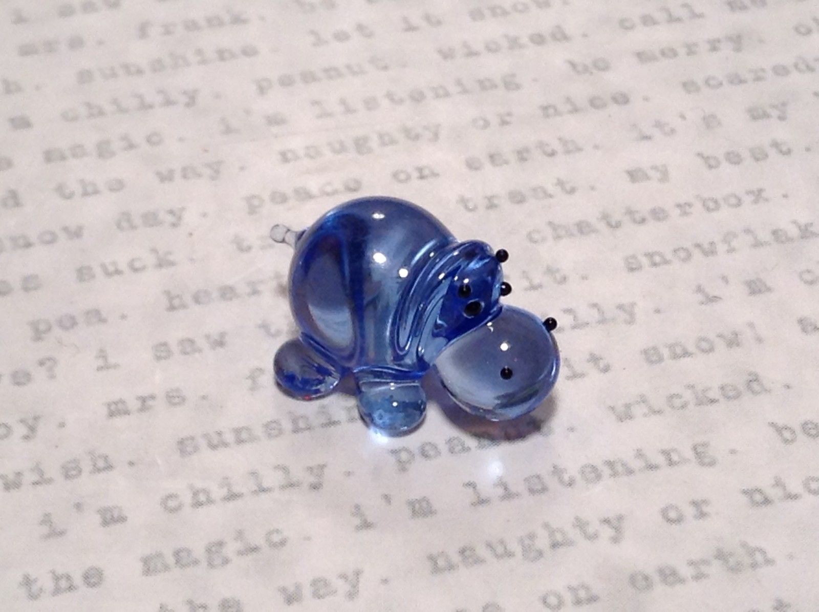 Miniature small hand blown glass blue hippo  made USA NIB