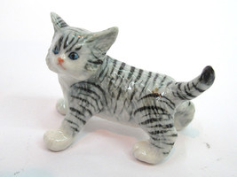 Handmade Dollhouse Miniatures Ceramic Porcelain Gray Cat - $3.71