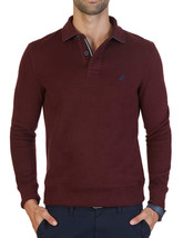 Mens Nautica Windward Long Sleeve Burgundy Classic Fit French Ribbed Polo Xl $79 - $28.99