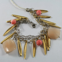 .925 RHODIUM SILVER AND YELLOW GOLD PLATED BRACELET WITH CORAL BAMBOO AND JADE image 1