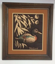"""VTG Wood Framed Matted MALLARD Duck Quilted """"Painting"""" Needlework  - $18.81"""