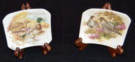 """4"""" Royal Adderley Bone China  Set of 2 Birds w/Frames Tea Bag Holder Eng... - $24.14"""
