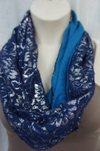 Collection Eighteen Scarf Sz One Size Navy Blue Laced Infinity Loop Casu... - $16.44
