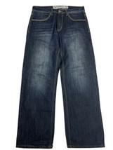 AVIREX Jeans Leather Iron Cross Back Pockets 100% Cotton Men's Size 34 - $27.71