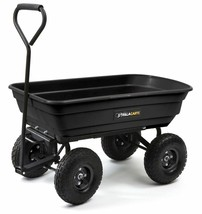 Black Garden Dump Cart Utility Wagon Lawn Yard Heavy Duty Wheelbarrow 60... - $145.43