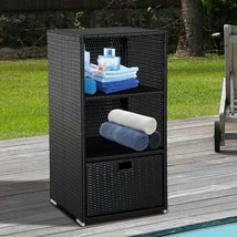 "47"" 3 Tier Pool side Rattan Wicker Towel Valet Organizer Cabinet with St... - £168.12 GBP"
