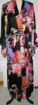 NWT New Designer Natori Wrap Robe Womens S Silky Satin Flowers Blue Red White image 1