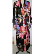NWT New Designer Natori Wrap Robe Womens S Silky Satin Flowers Blue Red ... - $123.50