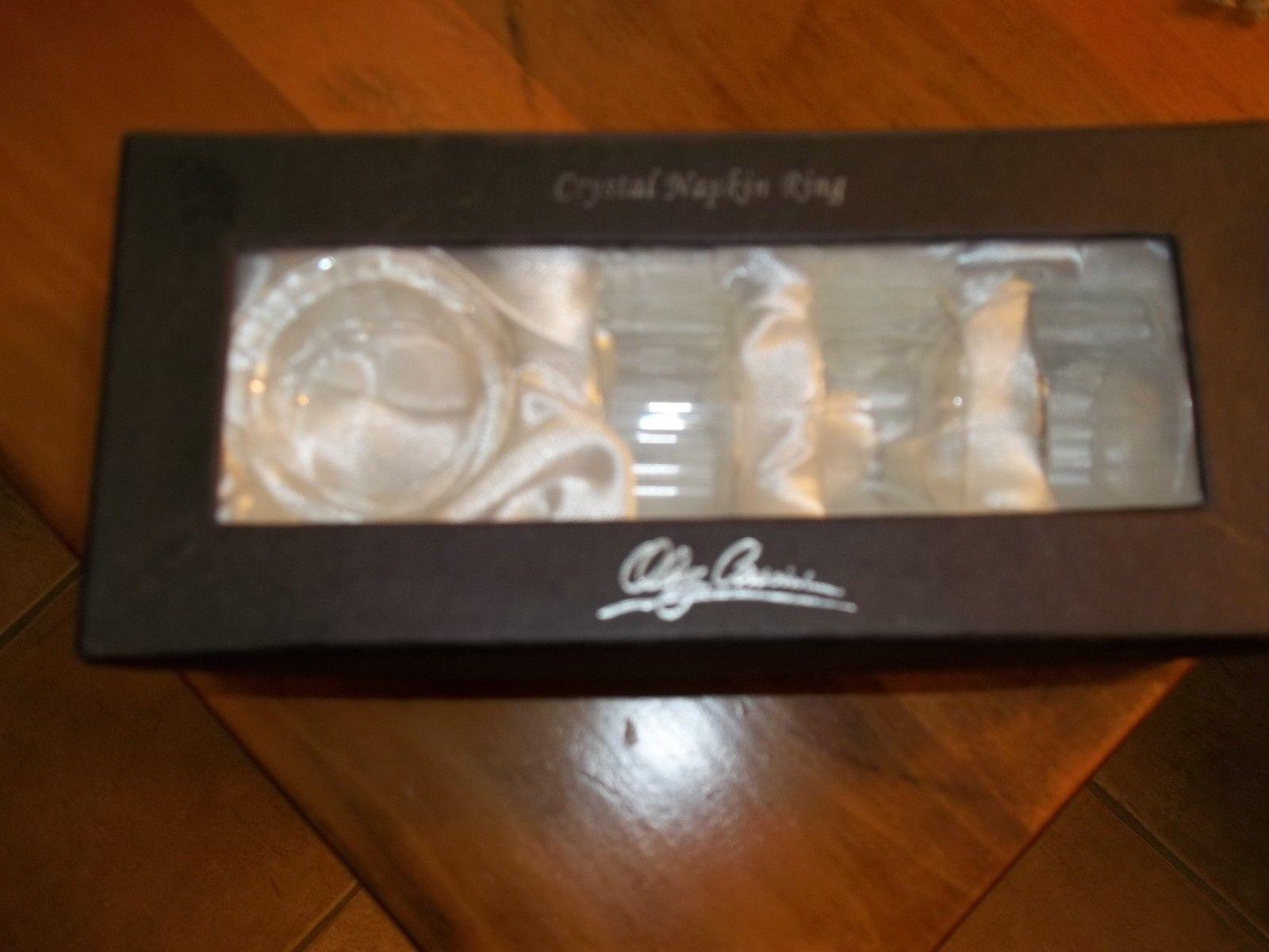 New Set Of 4 Oleg Cassini Crystal Napkin Rings Signed New In Box - $29.69