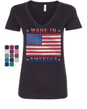 Made in America Women's V-Neck T-Shirt 4th of July Stars and Stripes Pat... - $14.80+